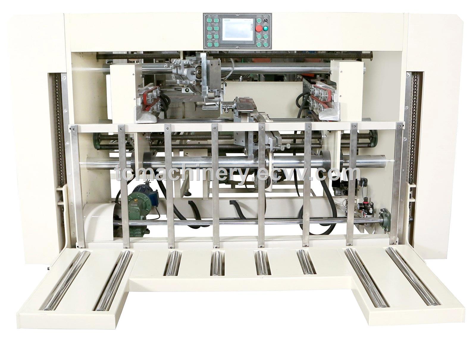 High accuracy semi automatic two piece joint box corrugated carton sttiching machine