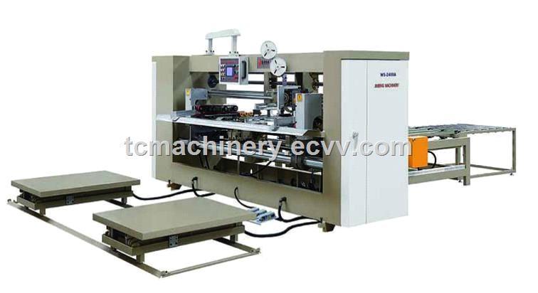 Semi auto big size two piece joint box corrugated carton box stitching machine nailing machine