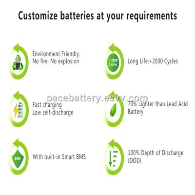 manufacturer custom AGV lithium battery pack with smart BMS