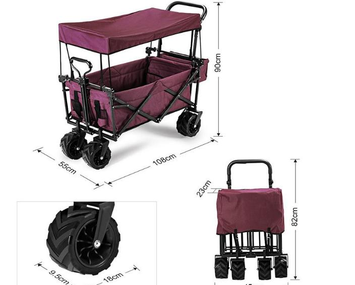 Factory straight for camping car folding cart fourwheel handpulled shopping and fishing multipurpose portable car