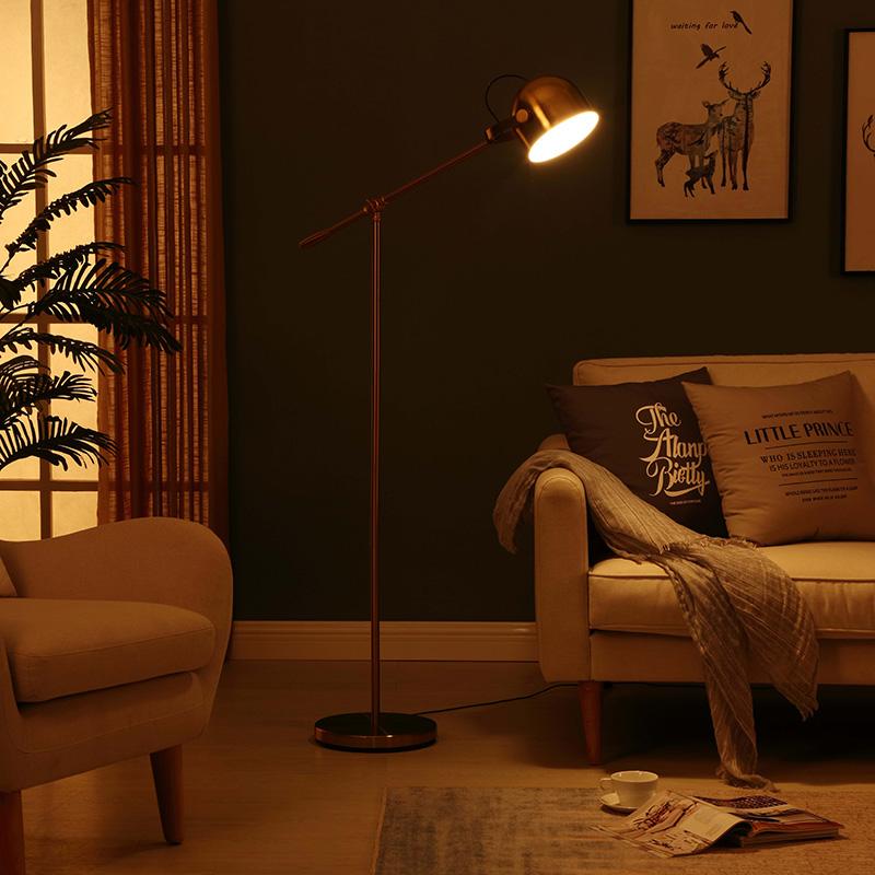 LED Light Adjustable Arm Task LED Metal Floor LampBrass Gold FinishHeight Adjustable