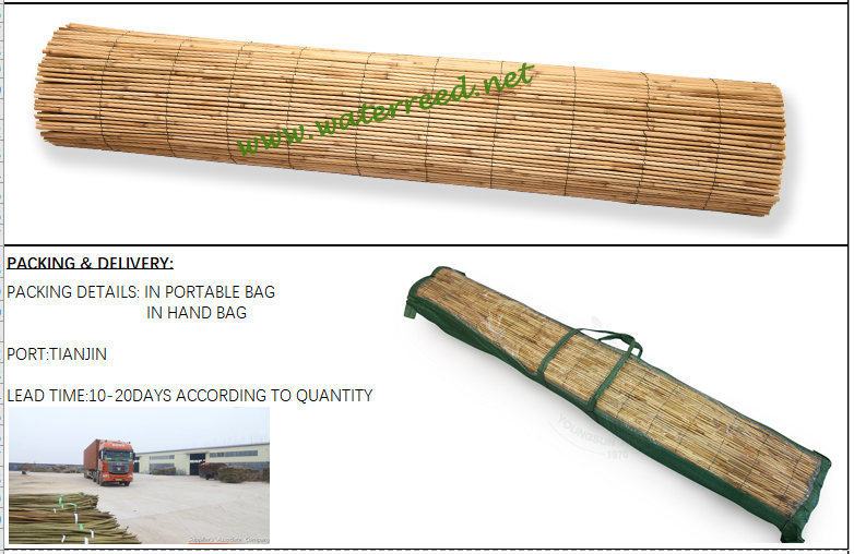 Natural reed fence for garden decoration