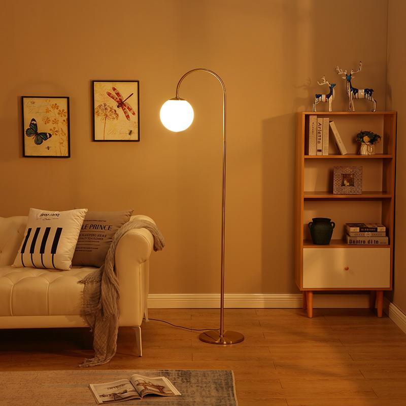 LED Light Metal Floor LampClassic Design Frosted White Globe Glass Shade Standing Downlight Light