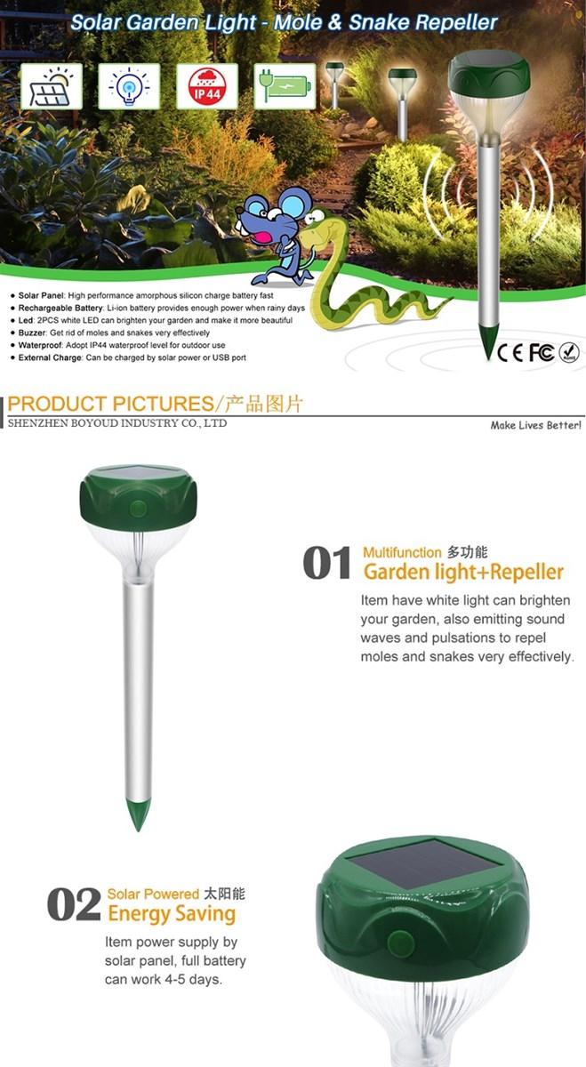 Outdoor Waterproof Mole and Snake Repellent Solar Garden Lamp Snake Trap