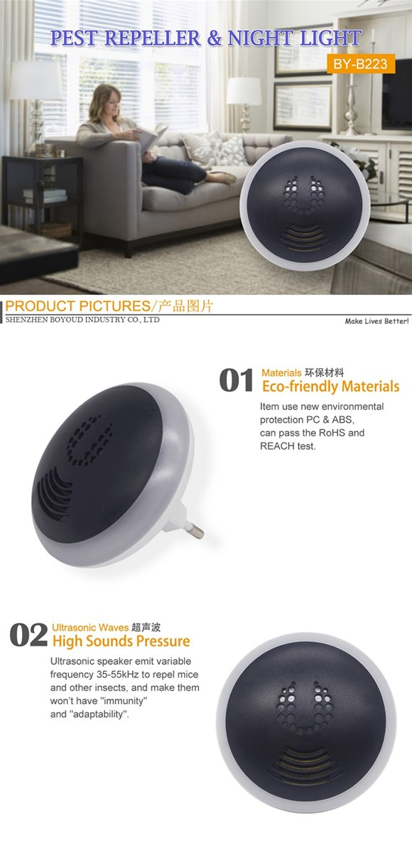 Variable Frequency LED Ultrasonic Pest Repeller Moskito Repeller Insect Repellent Night Light