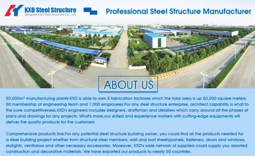 KXDs High Quaity Prefabricated Structural Steel Metal Structure Building for Warehouse Workshop