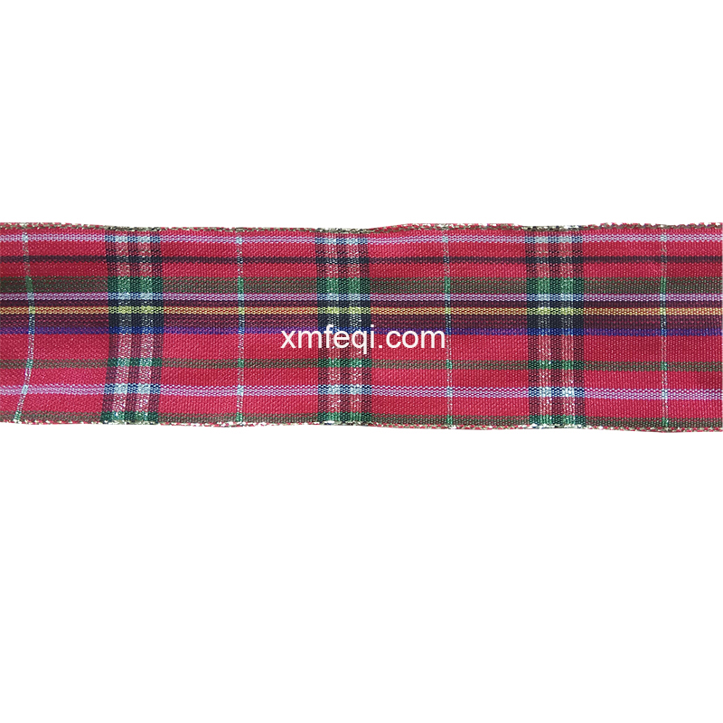 Wired red tartan ribbon plaid Christmas ribbon with gold edge