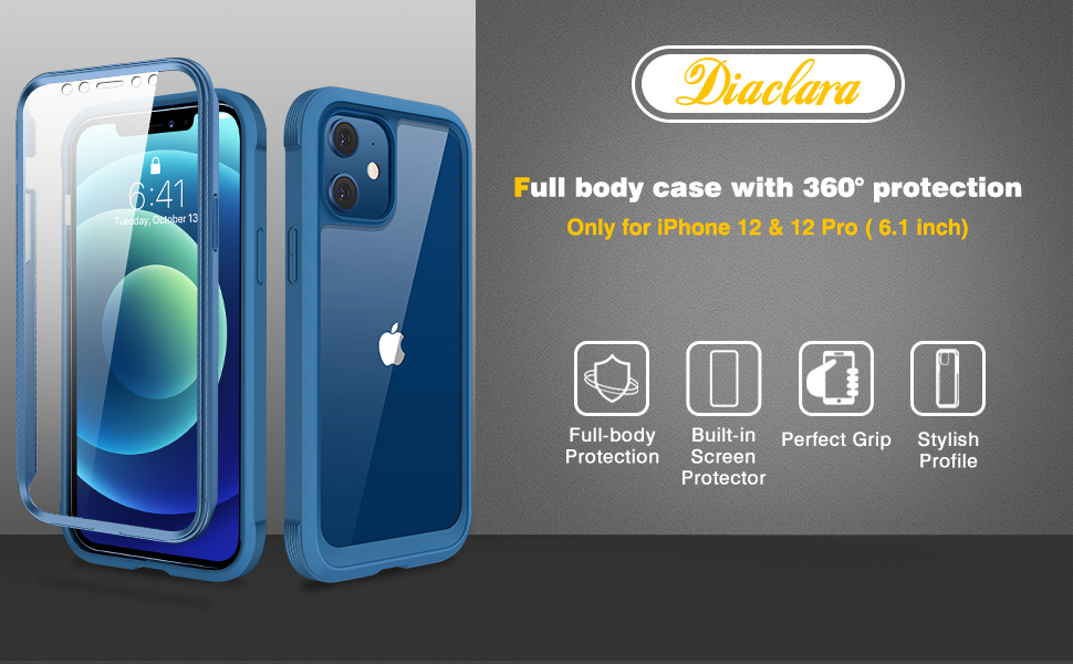 Polycarbonate Full Soft TPU Bumper Case with Builtin Touch Sensitive AntiScratch Screen Protector for iPhone 1212 pro
