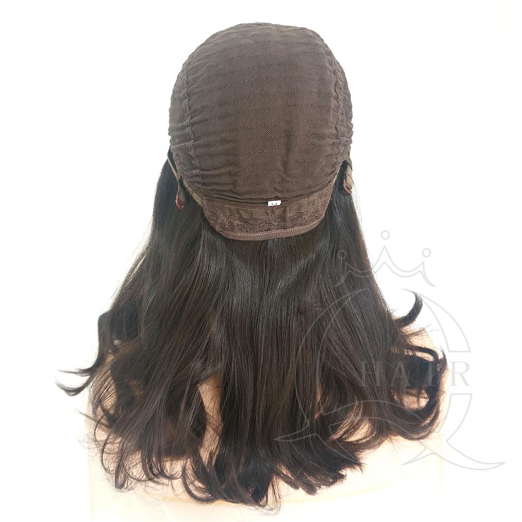 A18 inches natural black natural wave medium density standard 4x4 Jewish wig