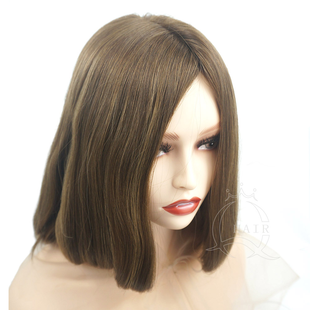 B15 inches medium brown color with slight highlight human hair wig jewish wig