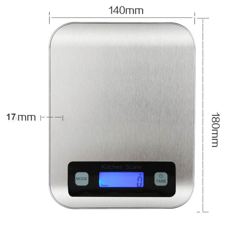 10kg by 1g silver digital kitchen scale with battery and USB charger