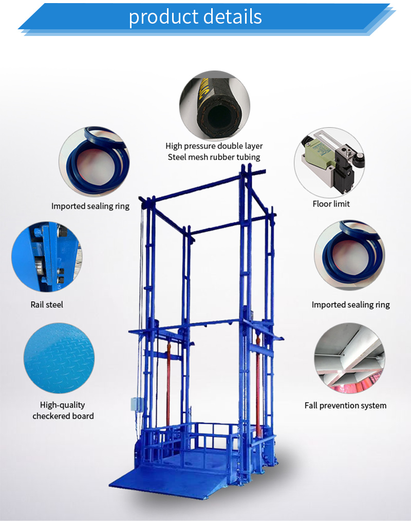 Industry Warehouse Goods Freight Elevator Hydraulic Guide Rail Cargo Lift