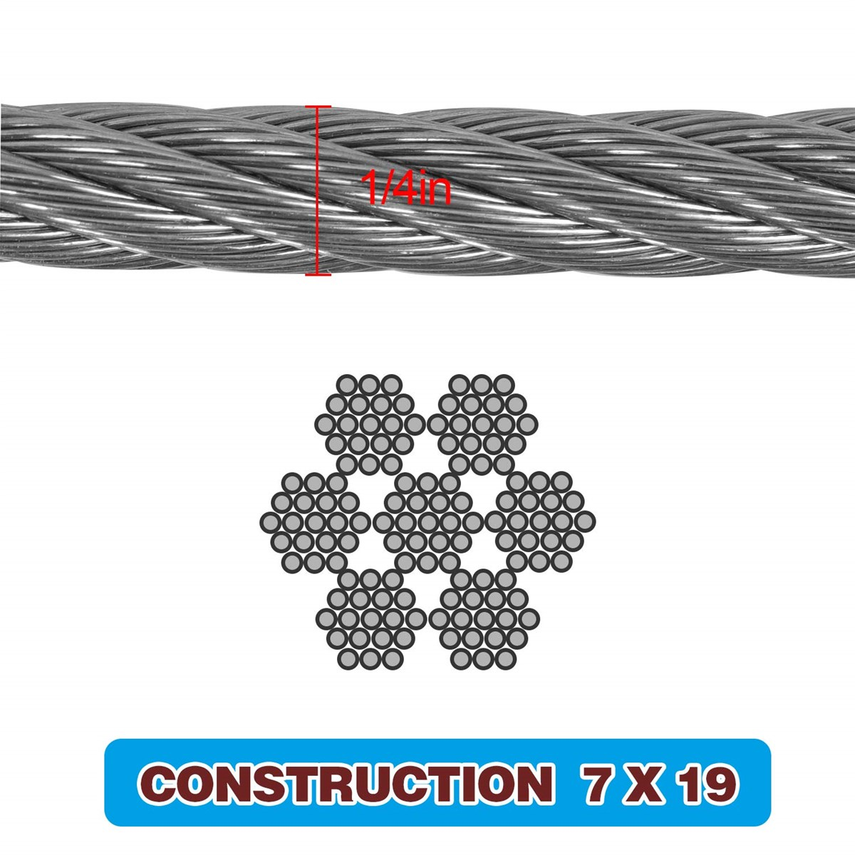 18 Inch T316 Marin Grade Stainless Steel Aircraft Wire Rope Cable for Railing Decking DIY Balustrade 7X7 Constructio