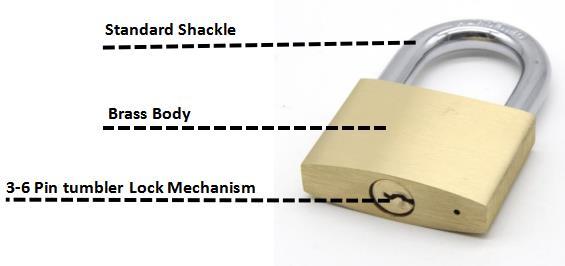 Cheap good quality waterproof safety anti theft anti cut solid brass padlock