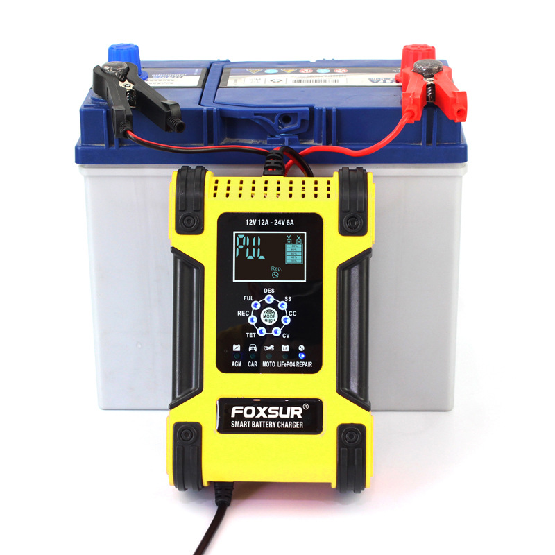 FOXSUR 12V24V 12A Touch Screen Pulse Repair LCD Fast Power Charging Wet Dry Lead Acid Digital LCD Car battery charger