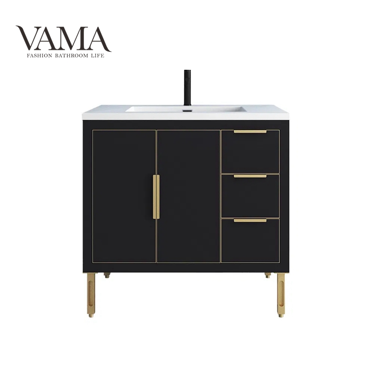 Vama 36 Inch Commercial Cheap Bathroom Cabinet with Metal Legs China Manufacturers BT003036