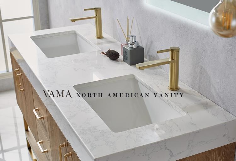 Vama 60 Inch Double Sink Bathroom Vanity Cabinet Wooden Bathroom Cabinet 789060