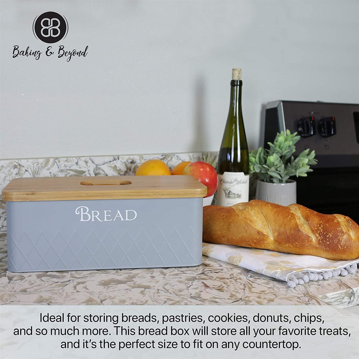 Bread Box with Bamboo Cutting Board Lid bread bin Bread Storage Container Holder Bread Keeper Bin