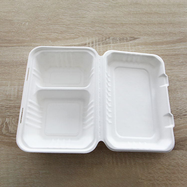 Disposable meal box environmental friendly bagasse 2 compartment takeaway meal box