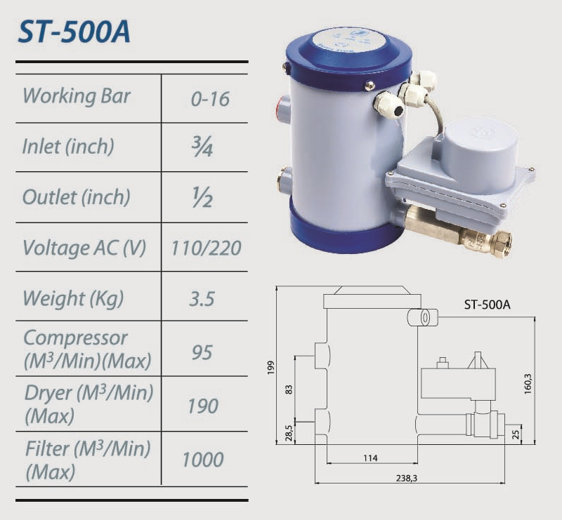 ST500A SUPER AIR Ball Valve Auto Condensate Drain for Air Compressor System