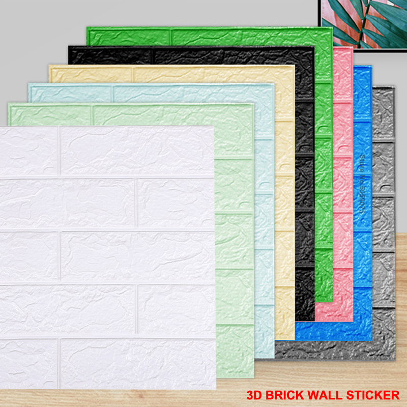 Factory Supply Self Adhesive Wall Stickers Home Decor PE Foam Brick Wall Paper Soundproof DIY 3D Wallpaper