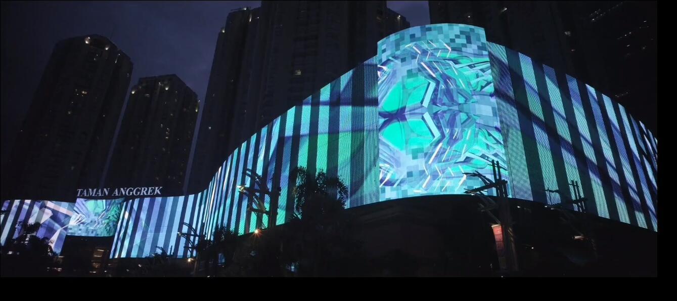 Media Facade Transparent Flex Net LED screen P56