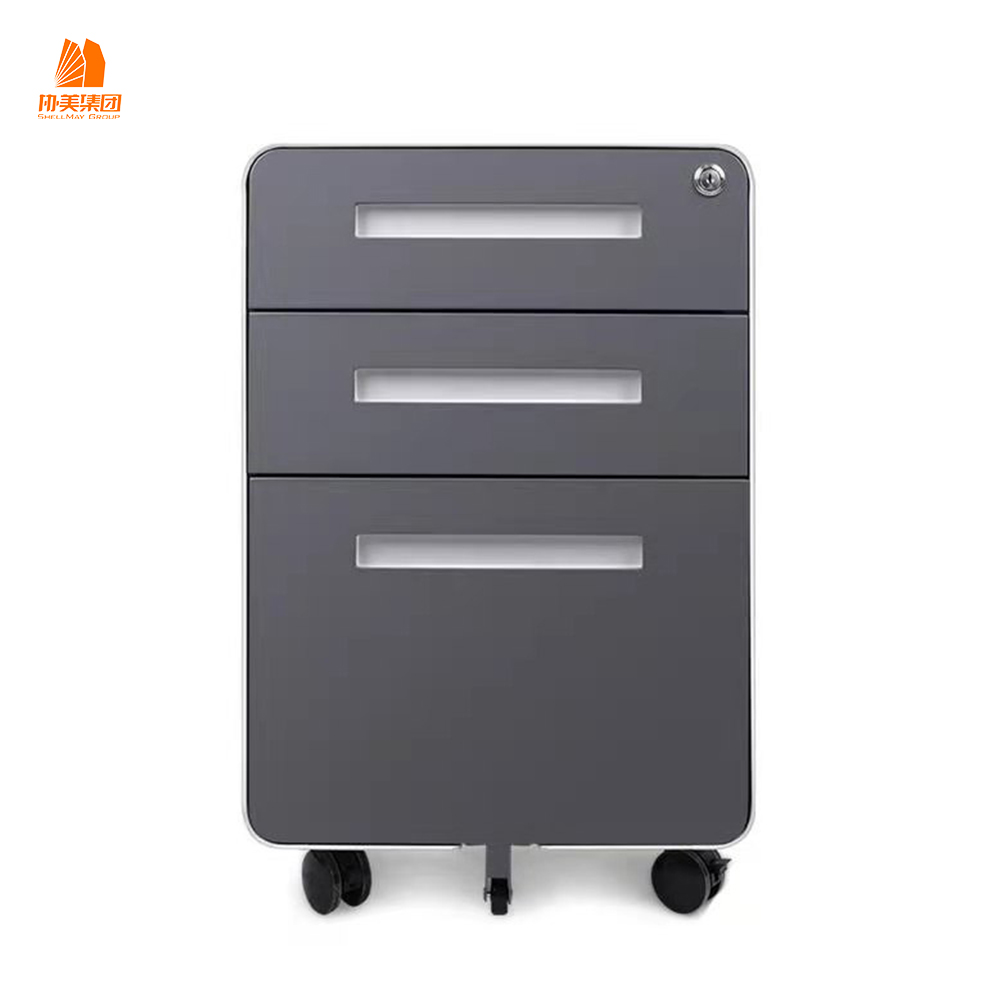 Modern Round Angle 3 Drawer Filing Cabinet Mobile Pedestals in Steel