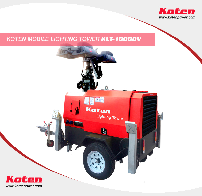 Koten Power mobile lighting tower 9m height 4pc 1000w lights