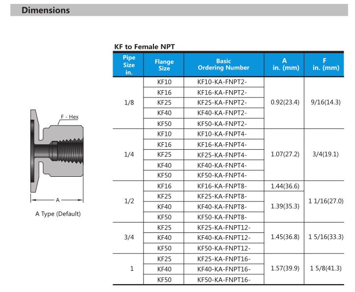 Swagelok type stainless steel KF to female NPT vacuum adapter fittings