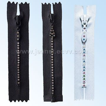 #3 Quality Rhinestone Zippers Available in Different Colors