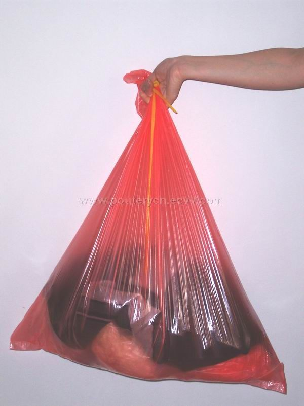 Hot Water Soluble Laundry Bag Red Color With Clear Tie