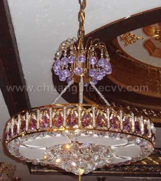Crystal Ceiling Lamp with Pink Crystal