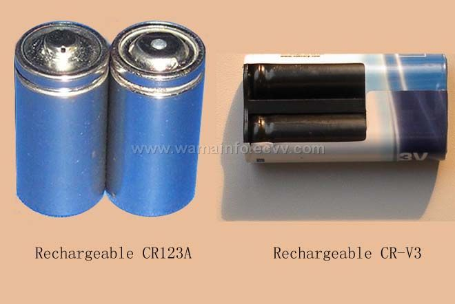 rechargeable CR123A and CR-V3