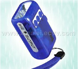 WIND-UP LED FLASHLIGHT WITH MOBILE PHONE BATTERY CHARGER