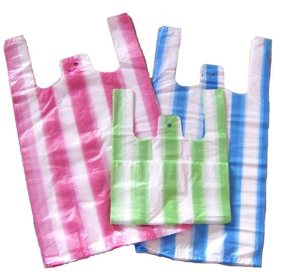 Plastic bags t shirt bags striped purchasing souring for Plastic t shirt bag