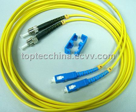ST-SC singlemode duplex fiber optic patch cord