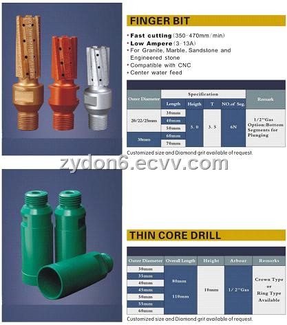 Finger Bit And Thin Core Drill