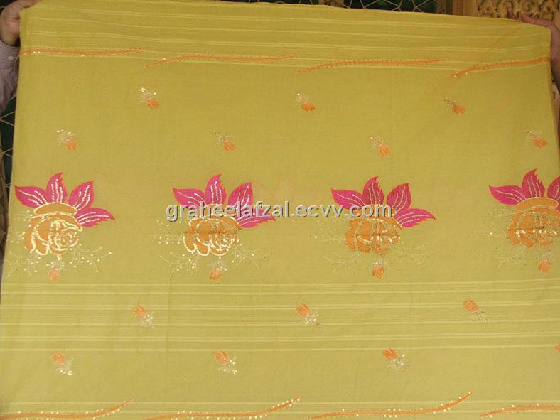 100% Cotton Fabric with Sequins Embriodery
