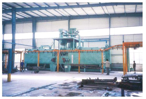 Q38 double route series hanger chains type continuous working overhead rail shot blasting machine