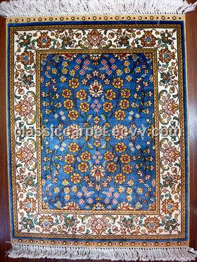 Persian Rug Handmade Turkish Silk Carpet Hereke Design Sky Blue Color
