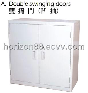 Steel low storage cabinet with double swinging doors