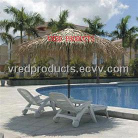 Tropical Real Palm Leaf Thatched Patio (Wooden Frame) Umbrella With Cover