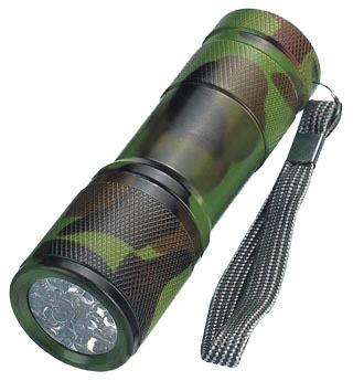 9 LED Army Camo Aluminum Flashlight (6030028 )