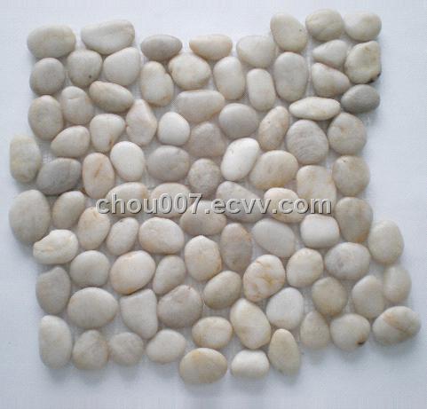 White Pebble Stone Mosaic Tile