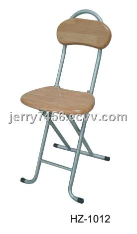 Wooden Folding Chair With Backrest Round Top