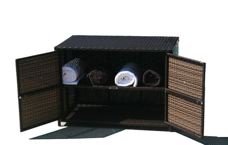All Weather Wicker Outdoor Storage Cabinet