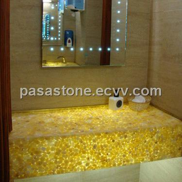 High quality translucent river stone pebble panels for indoor decoration