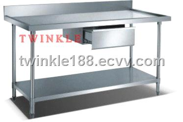 stainless steel work bench with splashback and under shelf - Stainless Steel Work Bench