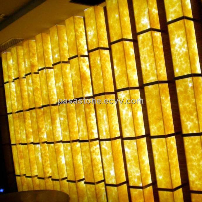 Translucent stone panel for lighting column