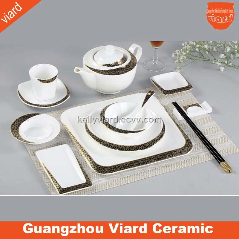Good quality elegant high white fine bone china 4 pcs dinnerware with gold decor DSSM-10307